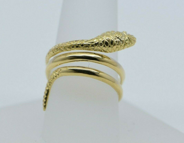 14K Yellow Gold Snake Ring Adjustable Made in Greece