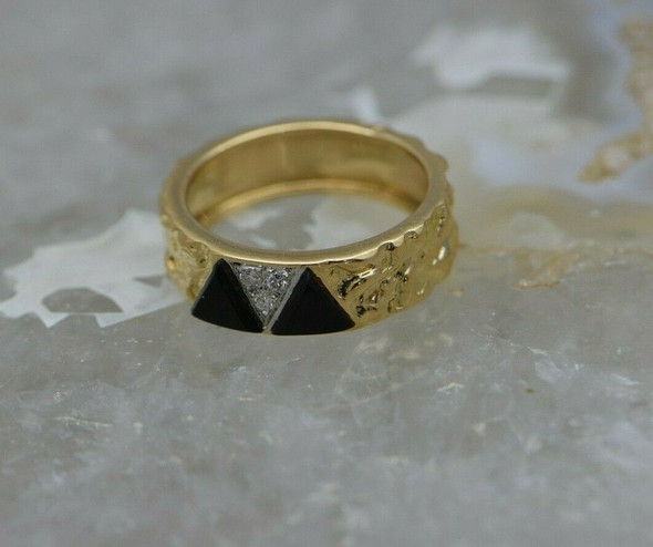 18K YG Van Cleef and Arpels Black Onyx and Diamond Ring, size 6.25 Circa 1980
