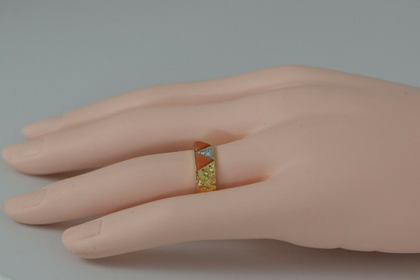 18K YG Van Cleef and Arpels Coral and Diamond Pave Ring, Size 6.5