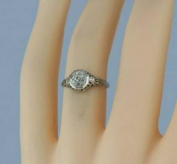 Vintage 14K White Gold Diamond Filigree Ring Size 4 Circa 1930