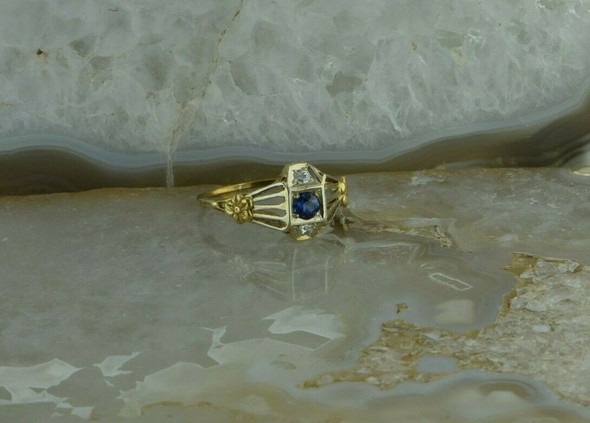 1930's 14K White & Yellow Gold Art Deco Filigree Diamond & Sapphire Ring Size 7
