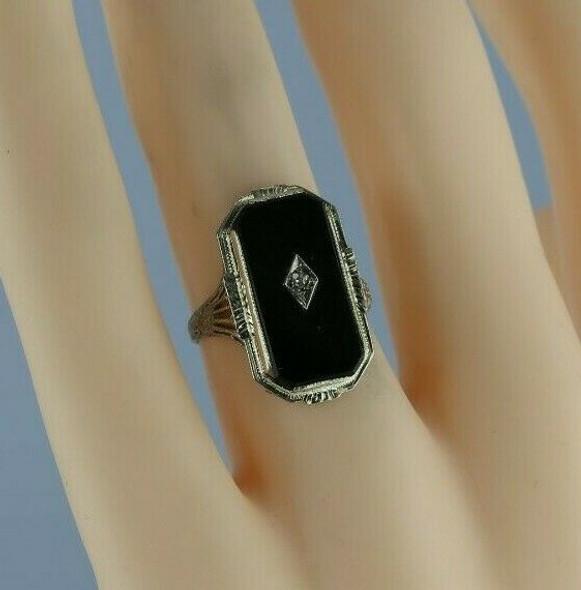 Platinum Filigree and Black Onyx Ring Central Diamond Chip Size 5 Circa 1930