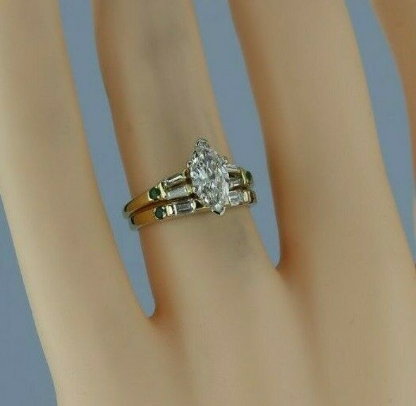 Stunning 18K Yellow Gold 1 ct tw Marquise Diamond and Emerald Wedding Set