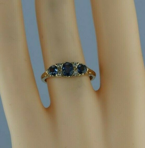 9K YG 1 ct tw Sapphire and Diamond Accent Ring English Made Size 6.75 Circa 1976