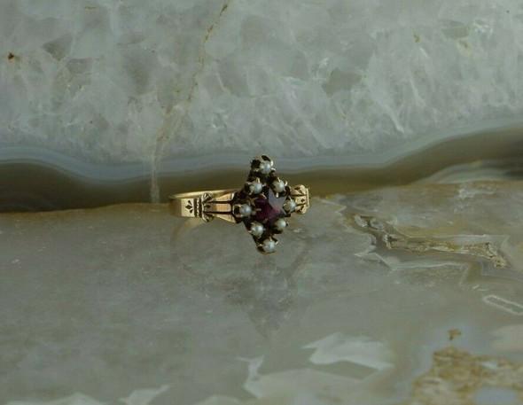 Super Fresh Antique 10K Rose Gold Pearl and Garnet Star Ring Size 5.5 Circa 1880