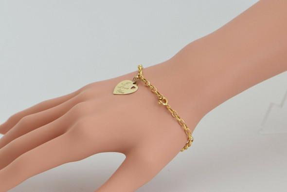 10K Yellow Gold I Love You Heart Charm Bracelet, Circa 1990