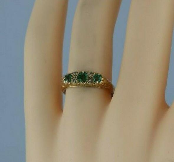 Vintage 9K Yellow Gold Emerald and Diamond Ring English Circa 1969 Size 6.75