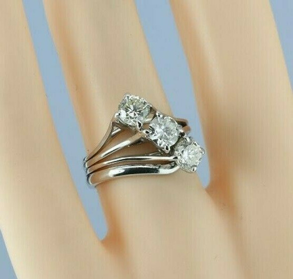 14K White Gold Diamond 3 stone Modernist Ring Handmade Custom Setting Size 5.75