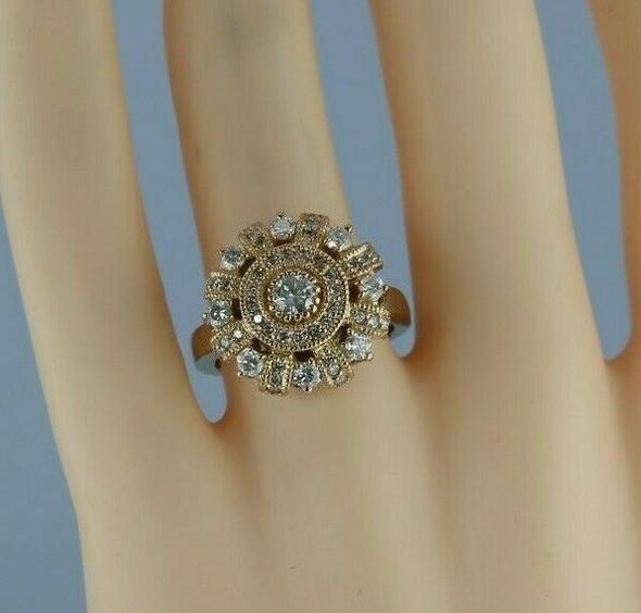 Designer Set 3 ct tw 14K White and Pink Gold Diamond Ring & Earring Suite Set