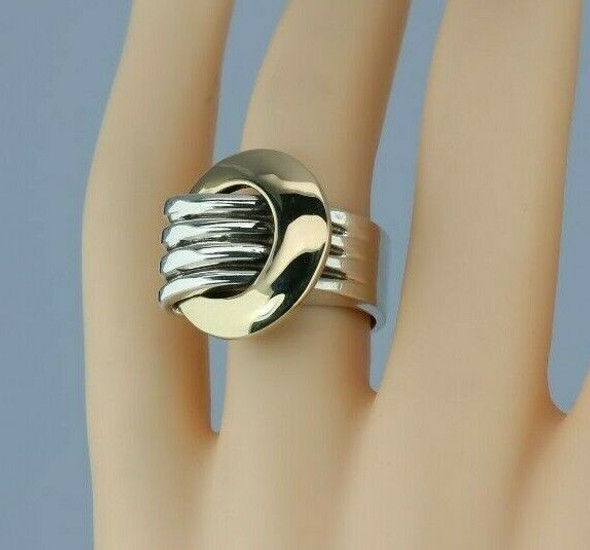 14K Unusual Yellow Gold and Sterling Silver Modernist Ring Size 6 Circa 1990