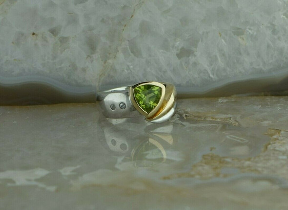 14K Yellow Gold and Sterling Silver Peridot and Diamond Ring Size 7.5