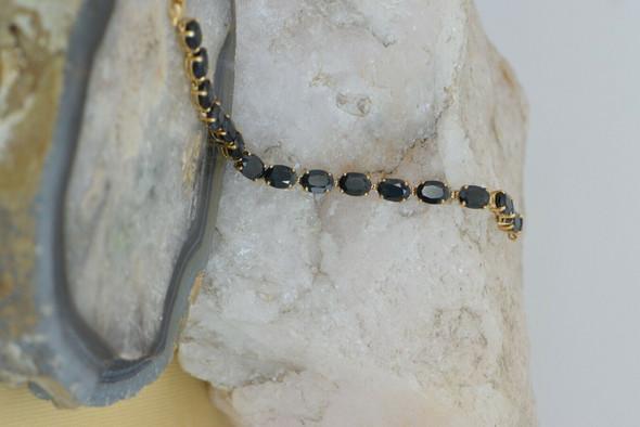 "10K Yellow Gold Sapphire Bracelet, 6"" Long"