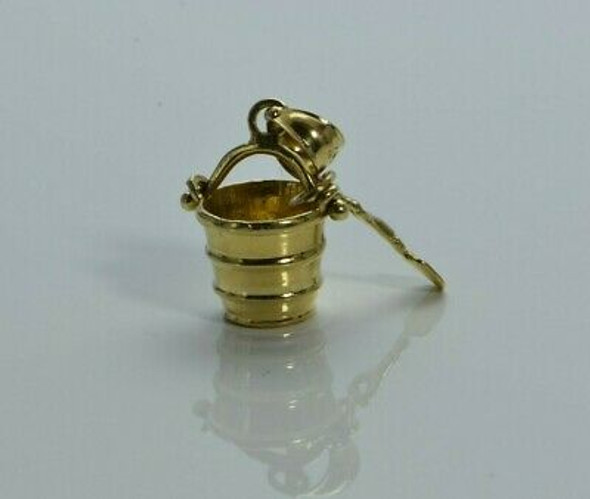 14K Yellow Gold Beach Bucket and Shovel Pendant