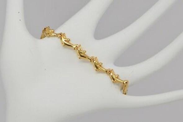 14K Yellow Gold Dolphin Links Bracelet, Modern Italian