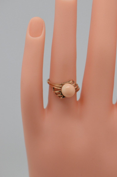10K Yellow Gold Coral Sphere Ring Circa 1960, Size 6.25