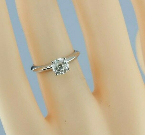 14K White Gold .78ct Old Mine Diamond Solitaire Ring H SI1 Size 4.25