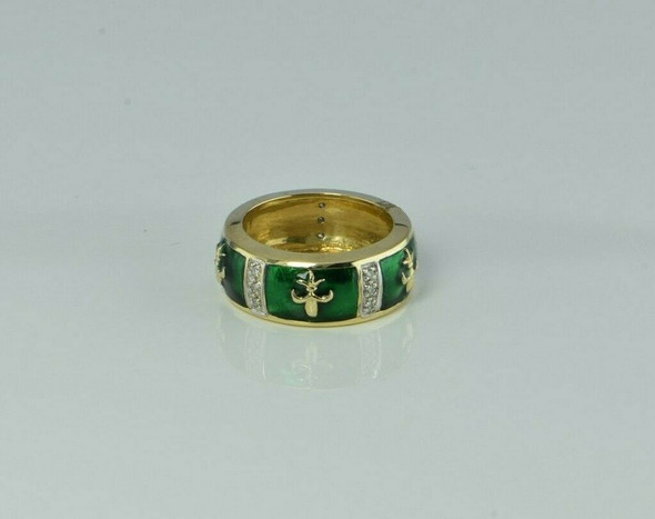 14K Yellow Gold Diamond and Green Enameled Fleur de Lis Band Size 4.75