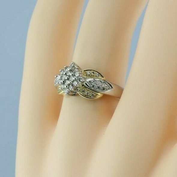14K White and Yellow Gold Diamond Cocktail Ring 3/4ct tw est H SI1 Size 7