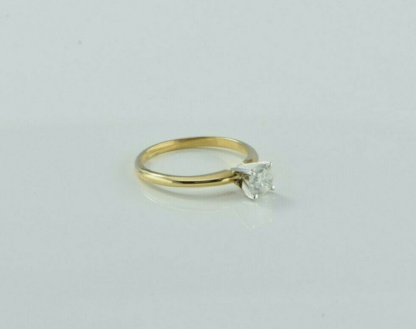 14K Yellow Gold 1/2 ct Diamond Solitaire Ring Size 6.25 Circa 1970