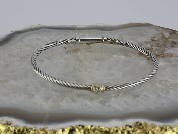 Unusual David Yurman Sterling and 18K Yellow Gold Diamond Hinged Bangle Bracelet