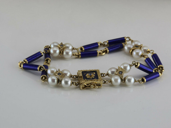 18K Italian Made Yellow Gold Pearl and Blue Enamel 2 Strand Bracelet Circa 1960