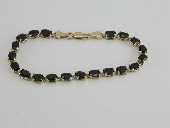 "10K Yellow Gold 10ct + Dark Sapphire Bracelet 8"" length Circa 1980"