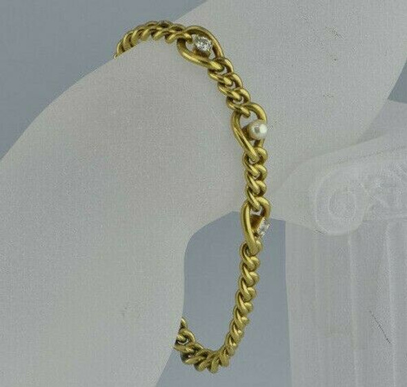 Victorian 14K Yellow Gold Well Made Diamond and Pearl Bracelet Circa 1890