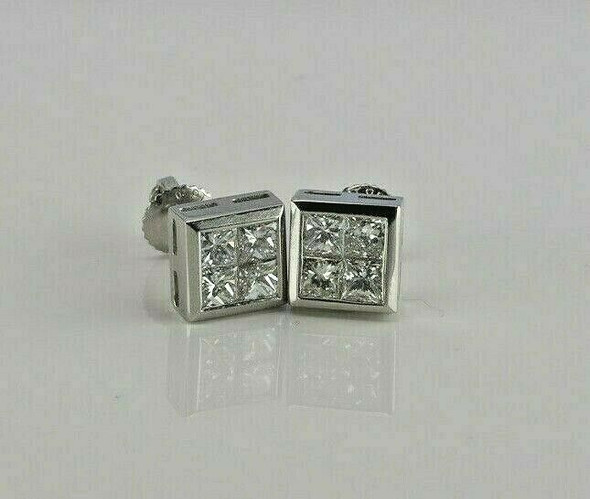 Superb Platinum Diamond Princess Studs 2ct tw. F Color VS Clarity Circa 1990