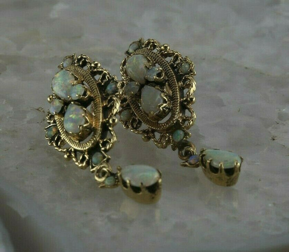Vintage 14K Yellow Gold Opal Screw Back Earrings,Baroque Style Circa 1950