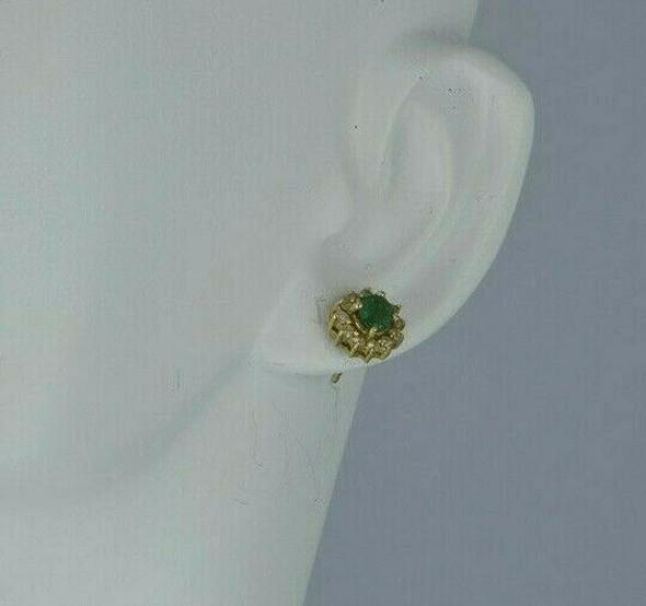 14K Yellow Gold Emerald Diamond Halo Studs Circa 1980