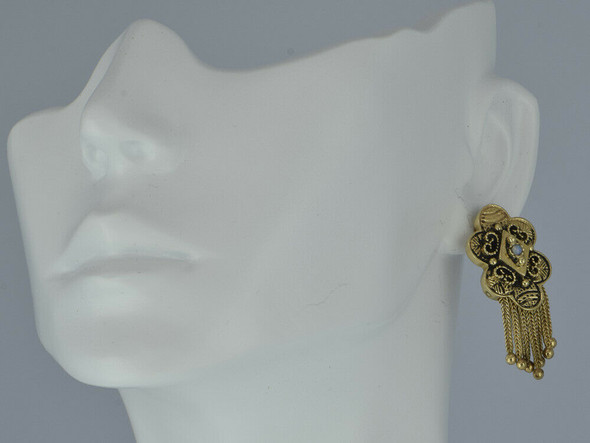 Vintage 14K Yellow Gold Opal Victorian Style Stud Earrings Circa 1950