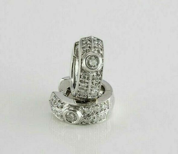 14K White Gold Diamond Hoops 10 Small Diamonds in Two Rows Circa 1990
