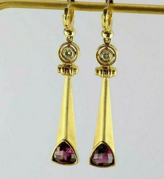 18K Yellow Gold Exquisite Diamond & Tourmaline Ear Pendants Circa 1990