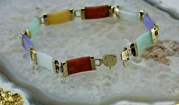 "14K Yellow Gold Multicolor Jade Bracelet 7.25"" length Circa 1970"
