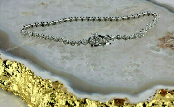 "14K White Gold 2ct tw Round Diamond Rosette Bracelet 7"" length Circa 1990"