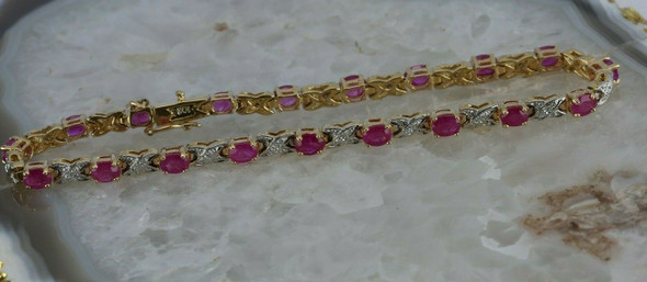 10K Yellow Gold 8 ct tw Ruby and Diamond Bracelet 7 1/8 length Circa 1980