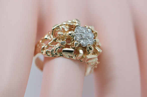 14K Yellow Gold Men's Diamond Cluster Ring Circa 1960, Size 10.5
