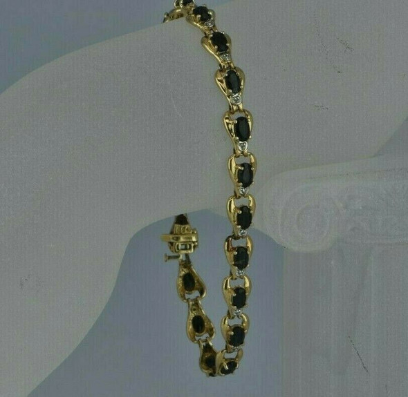 "10K Yellow Gold 7ct Sapphire Bracelet 7"" length Circa 1980"
