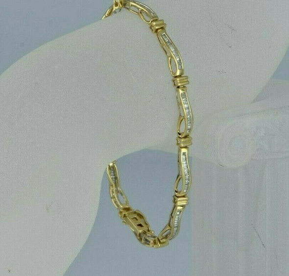 "10K White and Yellow Gold 1ct Diamond Bracelet 8"" length"