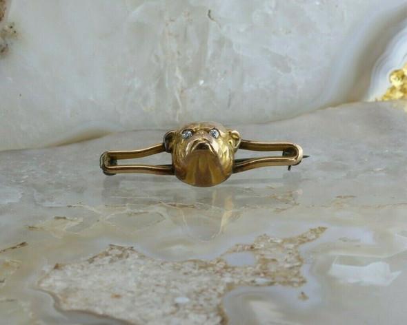 Antique 10K Yellow Gold Bulldog Pin Crystal Eyes Circa 1920