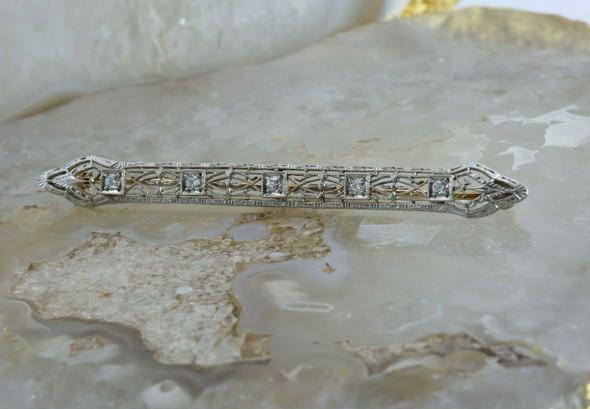 Antique 14K White Gold 1/3 ct Diamond Filigree Bar Pin Circa 1920