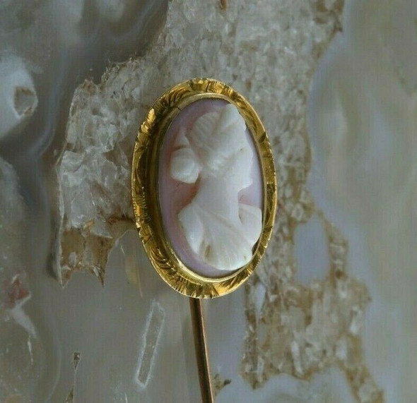 Antique 14K Yellow Gold Tested Shell Cameo Stick Pin Circa 1930