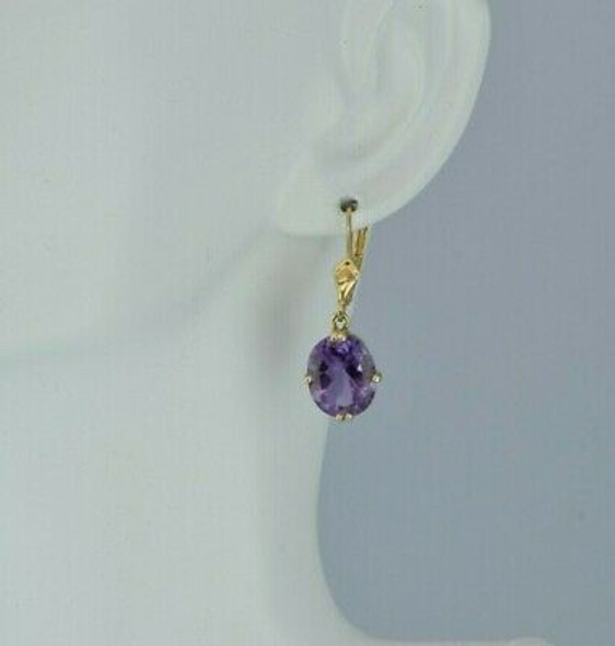 14K Yellow Gold 5 ct tw Amethyst Earrings French Clips Circa 1990