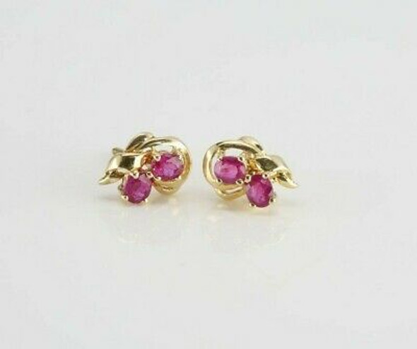 14K Yellow Gold 1.5 ct tw Natural Ruby Floral Studs Screw Backs