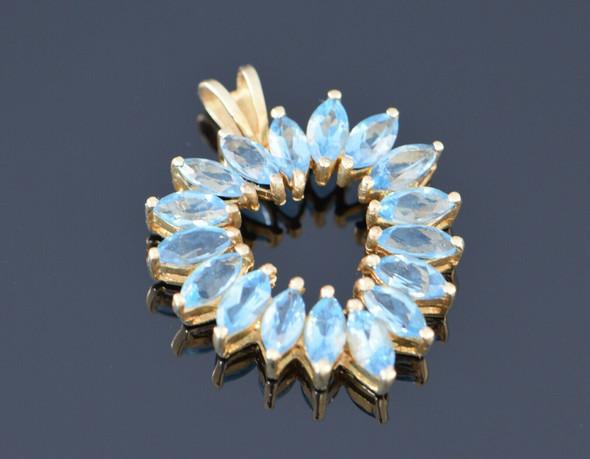 10K Yellow Gold Blue Topaz Heart Pendant, Circa 1970