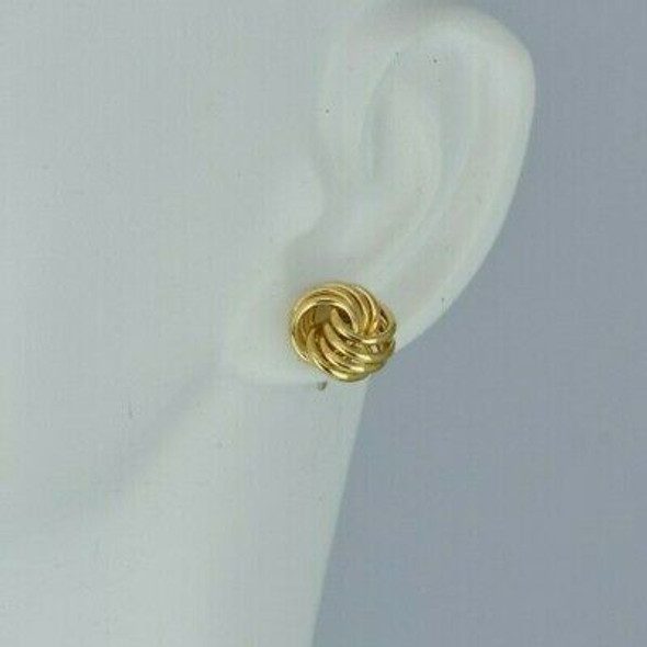 14K Yellow Gold Love Knot Stud Earrings 4 Element Wire Knots Circa 1990