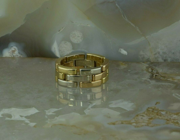 18K Cartier Maillon Panthere Tri - Color Gold Bricklink Flexible Ring Size 7