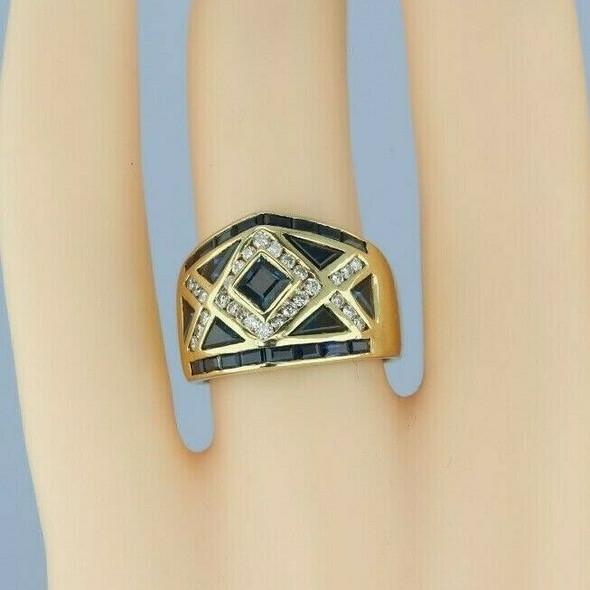 18K Yellow Gold 2 ct tw Sapphire and Diamond Inlaid Ring Size 6.75 Circa 1990