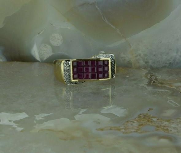 18K Yellow Gold 2 ct Designer Ruby and Diamond Ring Size 10 Circa 1990