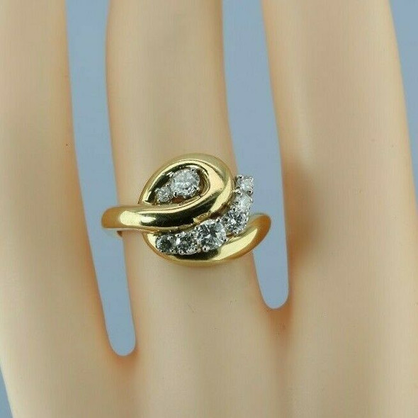 18K Yellow Gold 1 ct Modernist Diamond Cluster Ring with Platinum Heads Size 4.5